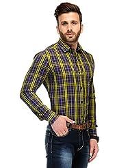 Edjoe Men's Navy & Yellow Check Solid Casual/Party Wear Shirt