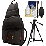 Case Logic Digital SLR Sling Camera Bag/Case (Black) (SLRC-205) + Tripod + Accessory Kit For Nikon D3100 D3200 D5000 D5100 D7000 D700 D800 D4 Digital SLR Cameras