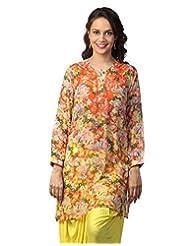 Love From India - Orange Kurti With Floral Print_100231_ORANGE_$P