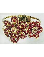 Red Stone Studded Oxidised Metal Hinged Bracelet - Metal