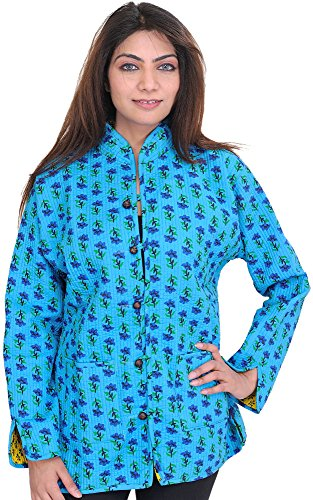 Exotic India Cyan-Blue Reversible Jacket From Pilkhuwa With Straight Stit - Blue