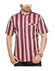 Moksh Red Pink Slim Fit Cotton Shirt V2IMS0414-191