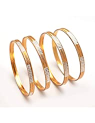 Bangles Silver Gold Plated Two Tone 4 Piece 2.8 Inch Hyderabad Real Look Jadau Charm Cz Ad Hot Bangle 86267