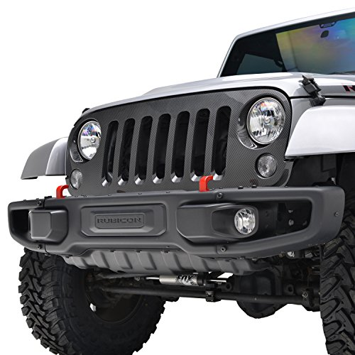 E-Autogrilles 07-16 Jeep Wrangler JK Black Carbon Fiber Look ABS Full Replacement Grille Grill Shell (41-0133CF)