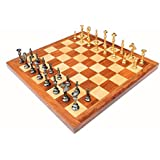 "StonKraft 16"" X 16″ Collectible Rosewood Wooden Chess Game Board Set+brass Pieces"
