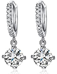 Celebrities Inspired Silver Round Crystal Halo Drop Earrings By Via Mazzini