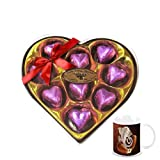 Chocholik's Classic Heart Shape Nicely Decorated Chocolates With Diwali Special Coffee Mug - Gifts For Diwali