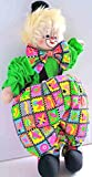 CLOWN NEON LEON - 14 Inches Tall - Cotton Rag Doll - Earth Friendly with Natural Kapok Stuffing - Excellent Quality - Great Attention To Details - Removable, Soft Clothing - Safe And Fun For Kids