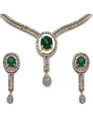 30.90 Grams Green & White Cubic Zirconia Gold Plated Brass Necklace Set