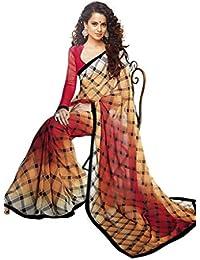 B4Best Creation Multi Georgette Printed Designer Fancy Saree For Women