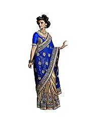 YSK Beige Blue Wedding Saree Georgette Embroidery Border Indian Sari - Buy Wedding Sarees Online | YSKVR102B