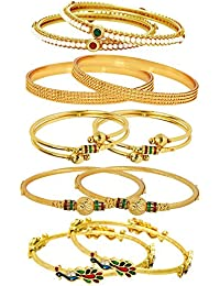Jewels Galaxy Combo Of Broad Designer Pearls Bangles, Mayur Bangles And Gold Plated Bangles - Pack Of 10