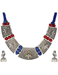 Charisma Creations German Silver Choker Peacock Thread Necklace Set For Women (CHCR0192)