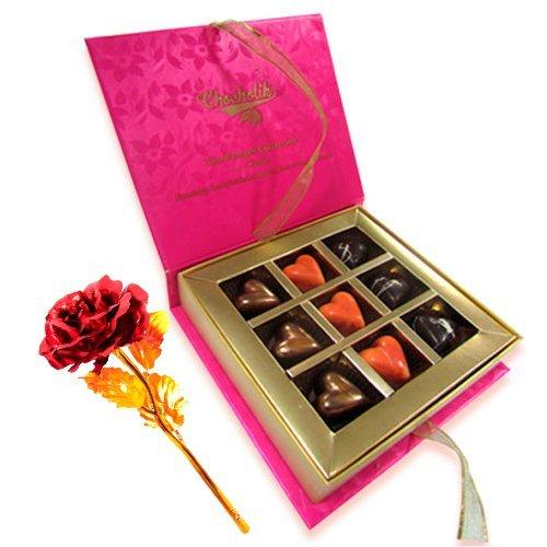 Divine Love For Ever Chocolates With 24k Red Gold Rose - Chocholik Belgium Chocolates