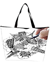 Snoogg Hand Drawing The Dream Travel Around The World Waterproof Bag Made Of High Strength Nylon