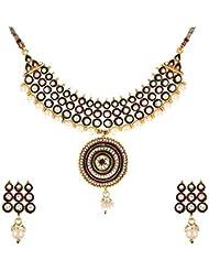 Zeneme Designer Antique Kundan Polki Necklace Set With Earring For Women