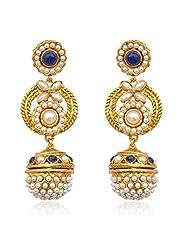 Blue Stone Earring With A Blue Drop ADIVA India Royal Jewellery Mz6b
