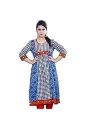 Rama Designer Cotton Sea Blue Printed Anarkali (14RAMA1421049)