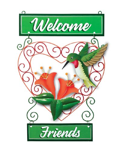 Hummingbird Welcome Friends Metal Wall Plaque
