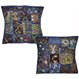 Traditional Embroidered Sequins Patchwork Cotton Cushion Covers 16 Inches 2 Pcs