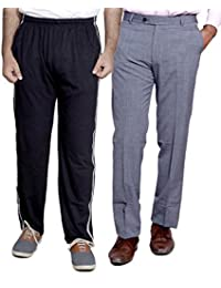 Indistar Mens Formal Trousers With Men's Premium Cotton Lower (Length Size -38) With 1 Zipper Pocket And 1 Open Pocket (Pack Of -1 Lower With 1 Trouser) - B01GEIOMQE