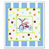 The Kids Room Rectangle Wall Plaque, Tricycle With Polka Dots And Stripes