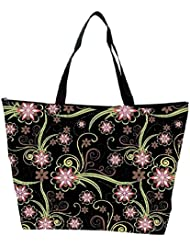 Snoogg Abstract Flowers In Black Designer Waterproof Bag Made Of High Strength Nylon