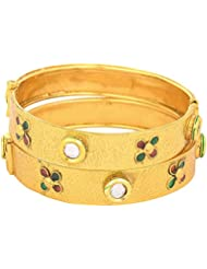 JFL- Traditional & Evergreen One Gram Gold Plated Kundan Designer Bangle Set For Women.