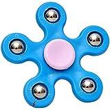 5 Point Steel Ball Fidget Finger Spinner Hand Spinning Toy - Blue