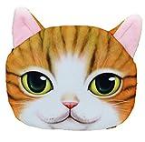LGTM fashion リアル プリント 猫 ねこ ネコ 顔 ポーチ 動物 アニマル フォト 大きい インパクト (ブライトイエロー)