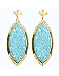 Aastha Jain Blue Carved Sterling Silver(18k Gold Plated) Earring For Women