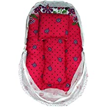 DOLPHIN52 BRINGS BABY BED WITH MOSQUITO NET AND 5 SET OF SOCKS (DARK RED)
