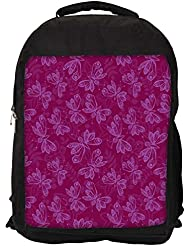 """Snoogg Light Butterfly Pink Pattern Casual Laptop Backpak Fits All 15 - 15.6"""" Inch Laptops"""