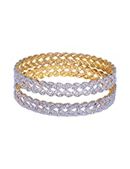 Gehna Beautiful Pair Of Bangles Made In Silver Alloyed Metal Studded Cubic Zircon