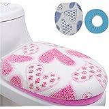 Alcoa Prime 2pcs Set Warm Thick Toilet Cover Coral Fleece Potty Cover Coat Round Ring Bathroom Toilet Set Blue...