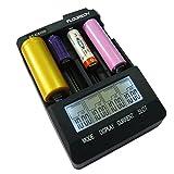 Floureon BTC3100 - Smart Cargador de Baterias, Pantalla LCD para Baterias Recargables AA/AAA, 26650, 22650, 18650, 18350, 16340, RCR123, 14500, 10440, NiMH NiCd