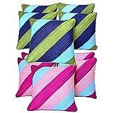 Diagonal Patch Quilting Cushion Covers Combo Green & Pink 40 X 40 Cms(10 Pcs Set)