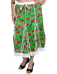 Exotic India Classic-Green Midi-Skirt With Printed Flowers - Green