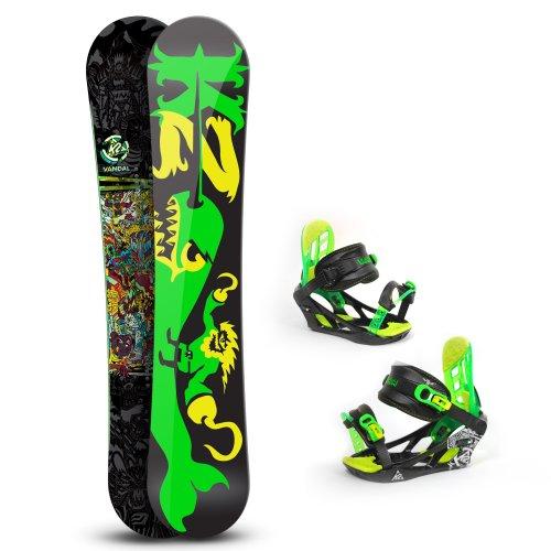 Wide Snowboard Vandal schwarz Gr. 148 cm mit Freestyle Baseline und passender Bindung Vandal black Gr. M