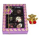 Chocholik Belgium Chocolate Gifts - Golden Treasure Of Belgian Chocolates With Small Ganesha Idol - Diwali Gifts