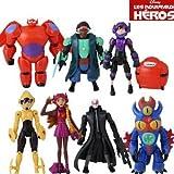 8pcs/set Big Hero 6 figures Fred Tomago Honey lemon Wasabi Cartoon Model Toys Assembly Toy Compatible Action Toy Figures