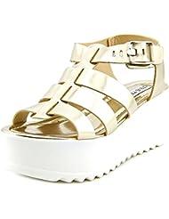 Steve Madden Strangld Women Open Toe Leather Gold Platform Sandal