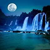 Pitaara Box Waterfall Under Moonlight - SMALL Size 16.0 Inch X 16.0 Inch - FRAMED CANVAS Wall Paintings With 6mm...