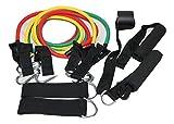 自宅でもできる エクササイズ バンド 器具 チューブ 9点セット トレーニング グリップ ハンドル セット 筋トレ グッズ 女性 負荷 チューブ