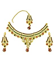 Surat Diamonds Geometrical Shaped Red, Green & White Coloured Stone & Gold Plated Necklace Earring & Manga Tikka...