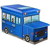 I-Make Foldable Storage Stool School Bus Design Fold Storage Box Multifunction Storage Case Non-woven Foldable... - B01KHG9K3E