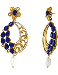 Traditional Ethnic Blue Oval Floral Gold Plated Dangler Earrings With Crystals For Women By Donna ER30109G