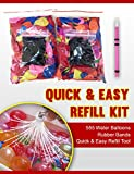 Water Balloons Bunch Refill 555 Quick & Easy - 555 Water Balloons and Rubber Bands + Quick & Easy Refill Tool - Refill new ammunition on the same bunches again and again for tying and filling the 100 Water Balloons in Less than a Minute with the same adapter - Greatest Value - Fun Guaranteed!