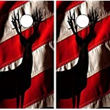 Avery Dennison C103 Deer American Flag CORNHOLE LAMINATED DECAL WRAP SET Decals Board Boards Vinyl Sticker Stickers Bean Bag Game Wraps Vinyl Graphic Tint Image Corn Hole