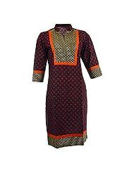 Pahal Women's Printed Cotton Black And Red Kurti